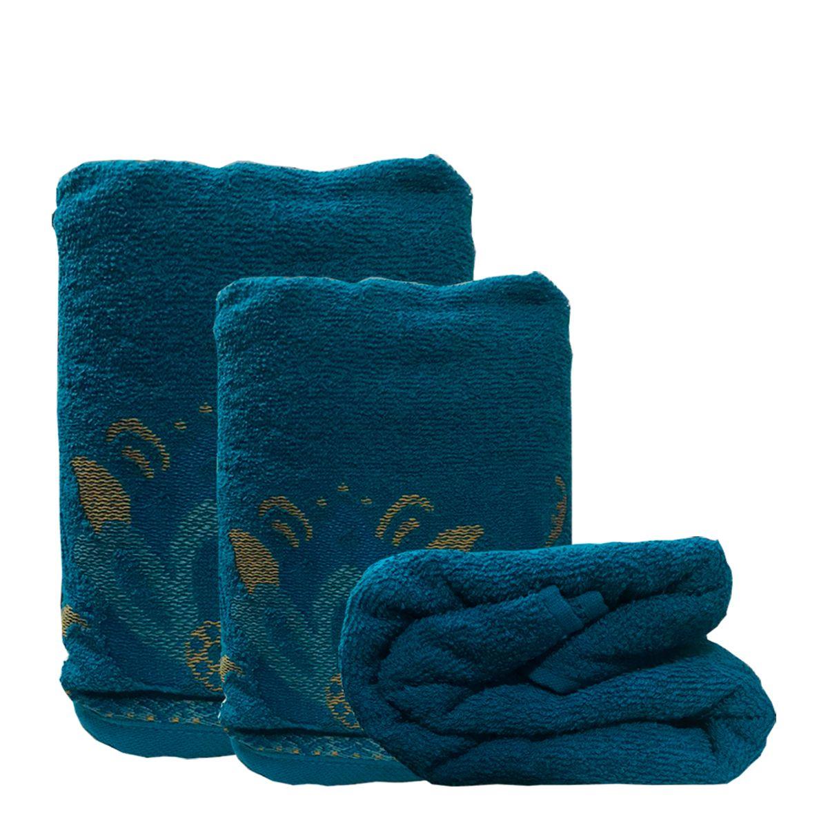 Jogo de Toalhas Lotus Azul Petroleo 4 pçs