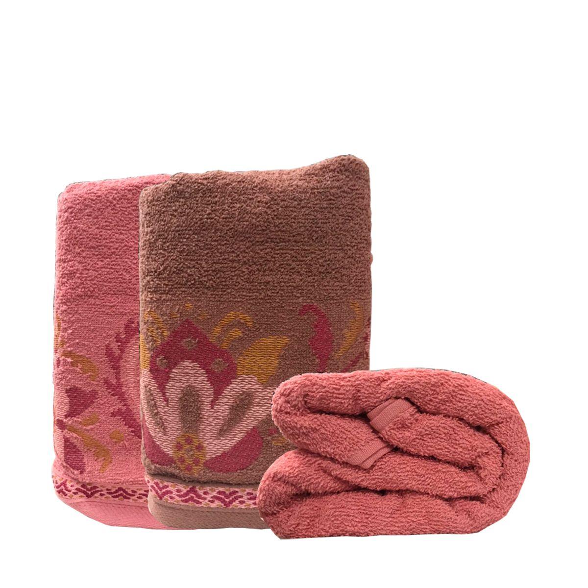 Jogo de Toalhas Lotus Cassis+ Rosa Blush 4 pçs