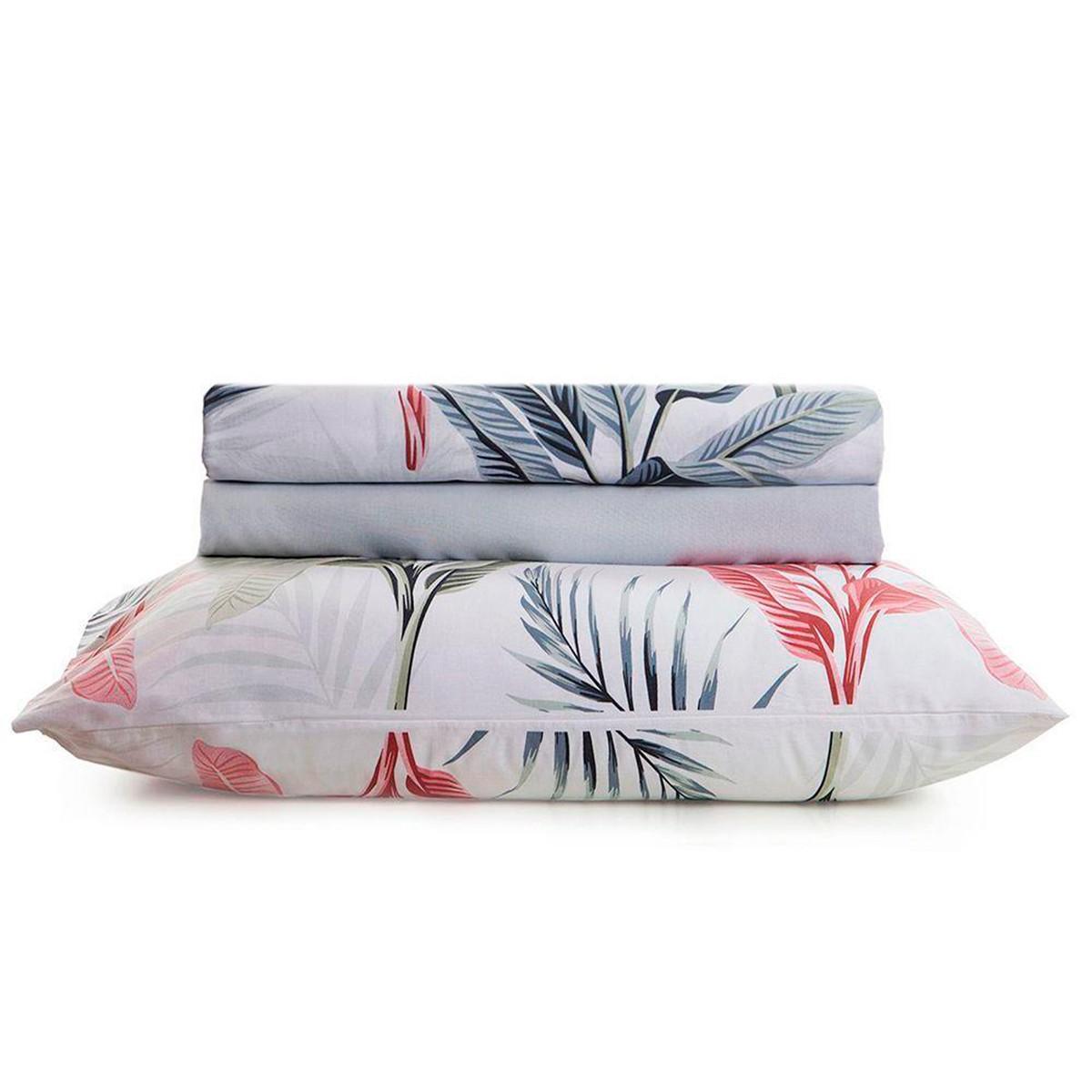 Jogo Duplo de Lençol Casal Home Design Palm Cinza