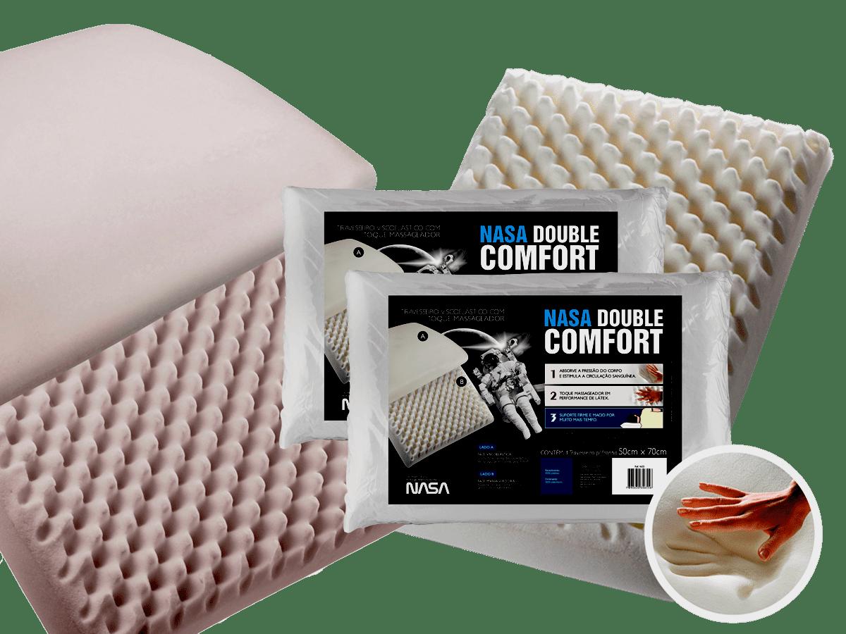 Kit 2 Travesseiros Fibrasca Nasa Double Comfort 3 Para Fronha 50x70