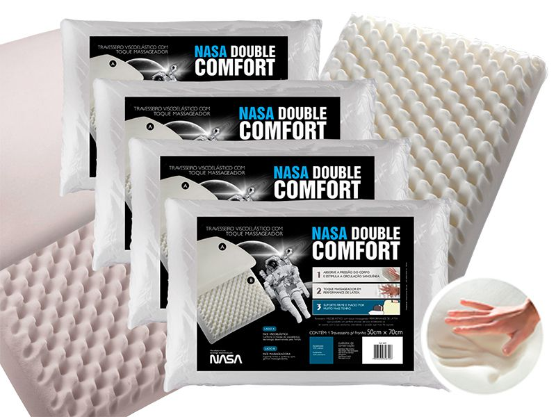 Kit 4 Travesseiros Nasa Double Comfort Fibrasca (Disponibilidade: Imediata)