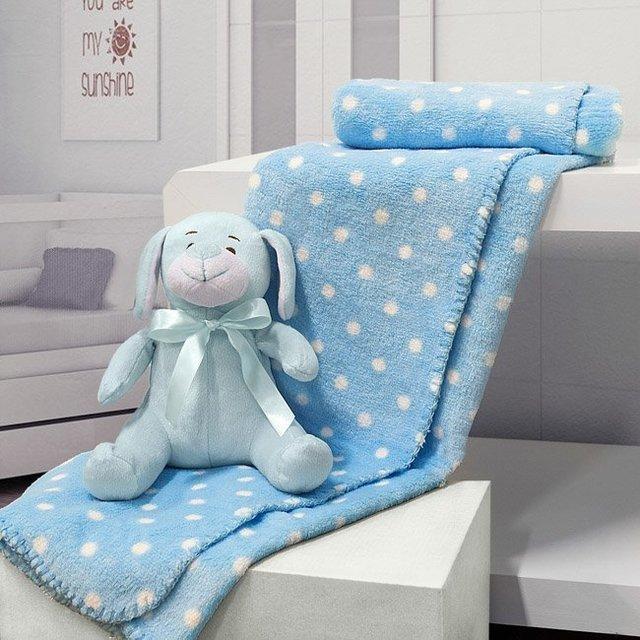 Cobertor Manta Para Bebe Cachorro Azul De Pelucia Com Touca - Bouton