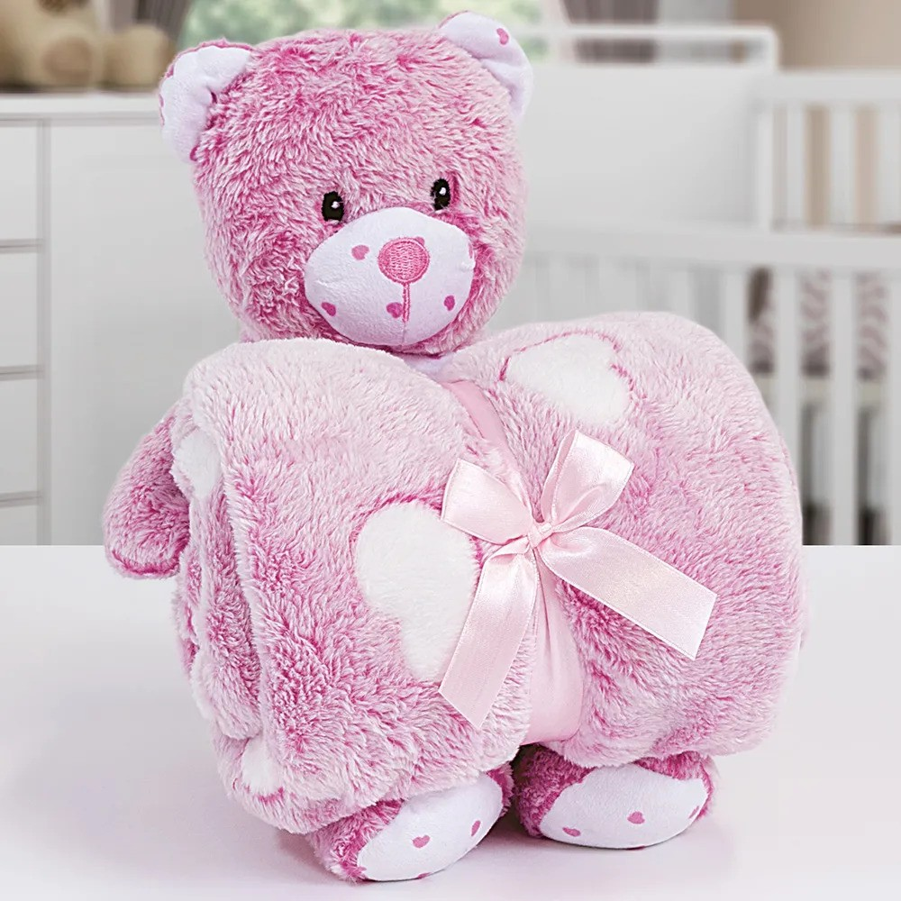 Kit Baby Manta Com Bichinho de Pelucia Microfibra Stone Washed Ursinho Rosa