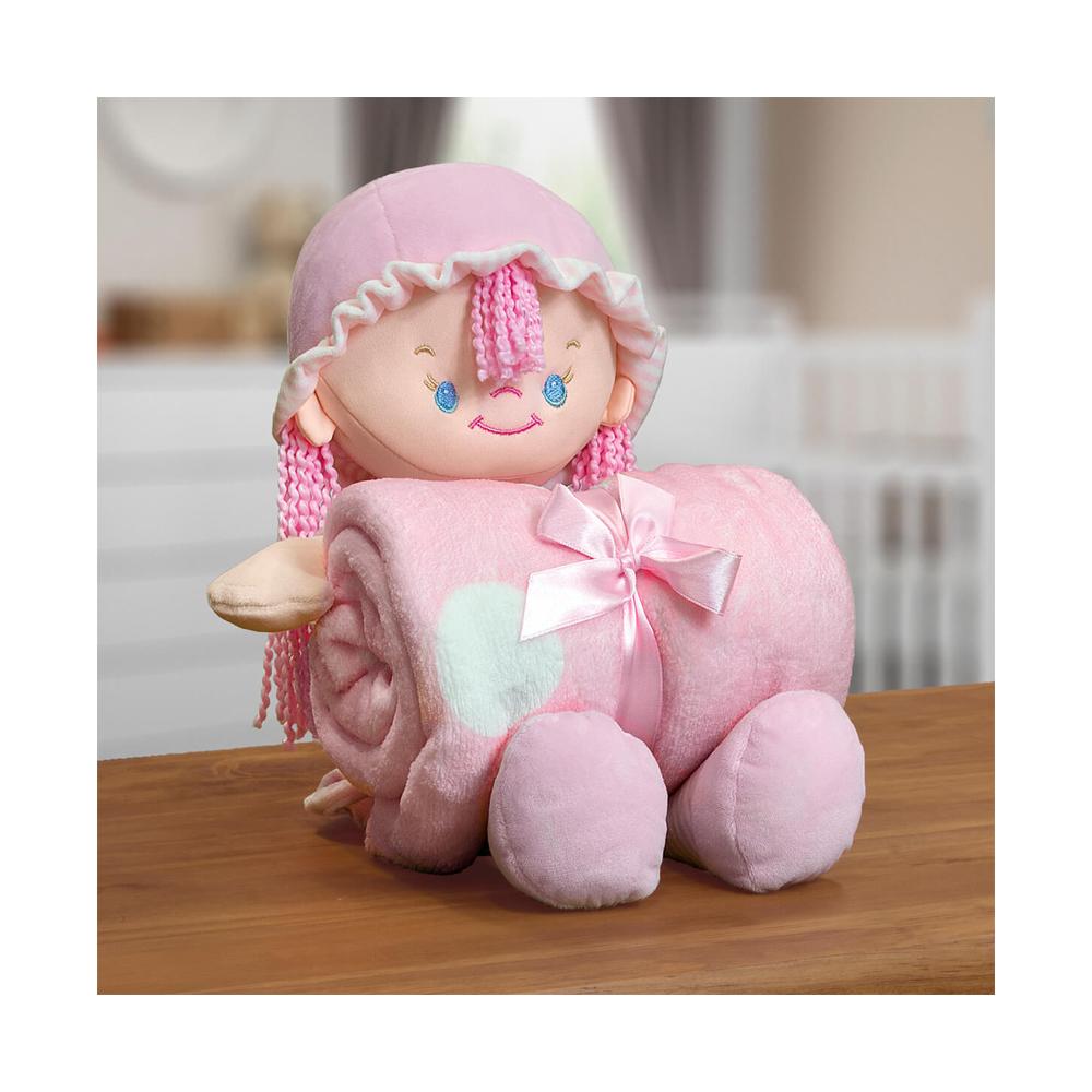 Kit Baby Manta Microfibra Com Boneco de Pelucia Nanny Rosa
