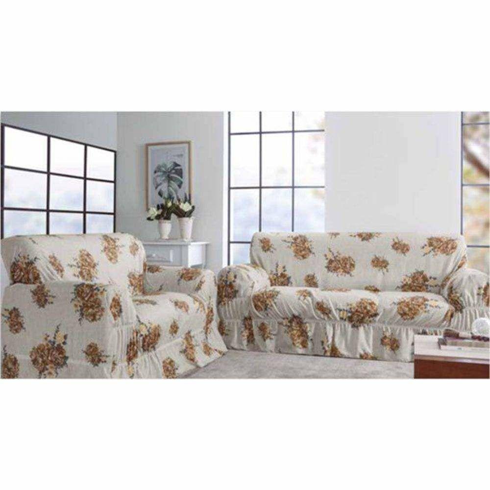 Kit Capa De Sofa Com 2 E 3 Lugares Estampado Gorgurinho Charm Caqui