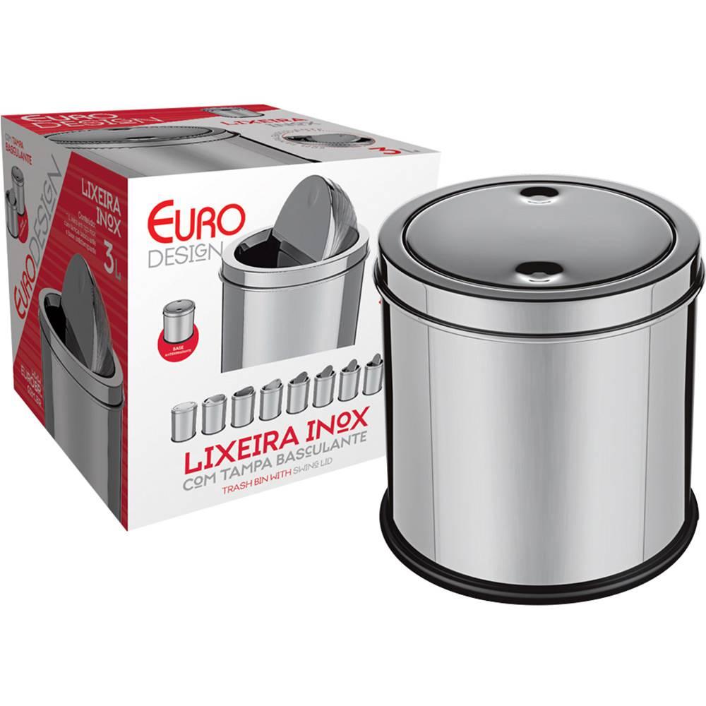 Lixeira Inox com Tampa Basculante 3 Litros - Euro Home