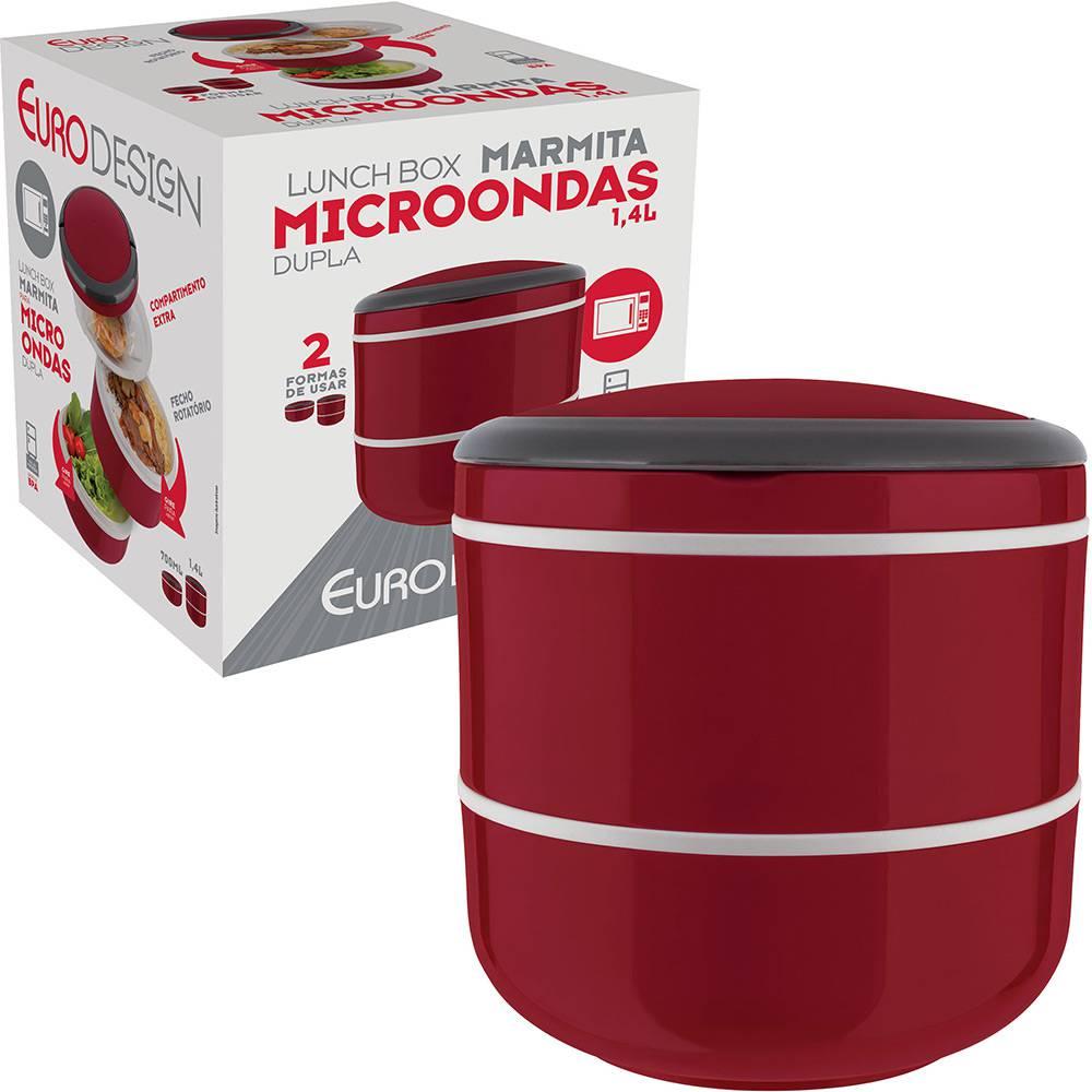 Lunch Box Marmita Dupla Microondas Vermelho 1,4L - Euro Home