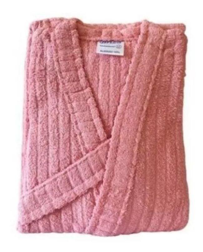 Roupão de Banho 100% Algodão Aveludado Adulto 3G Plus Size Rosa