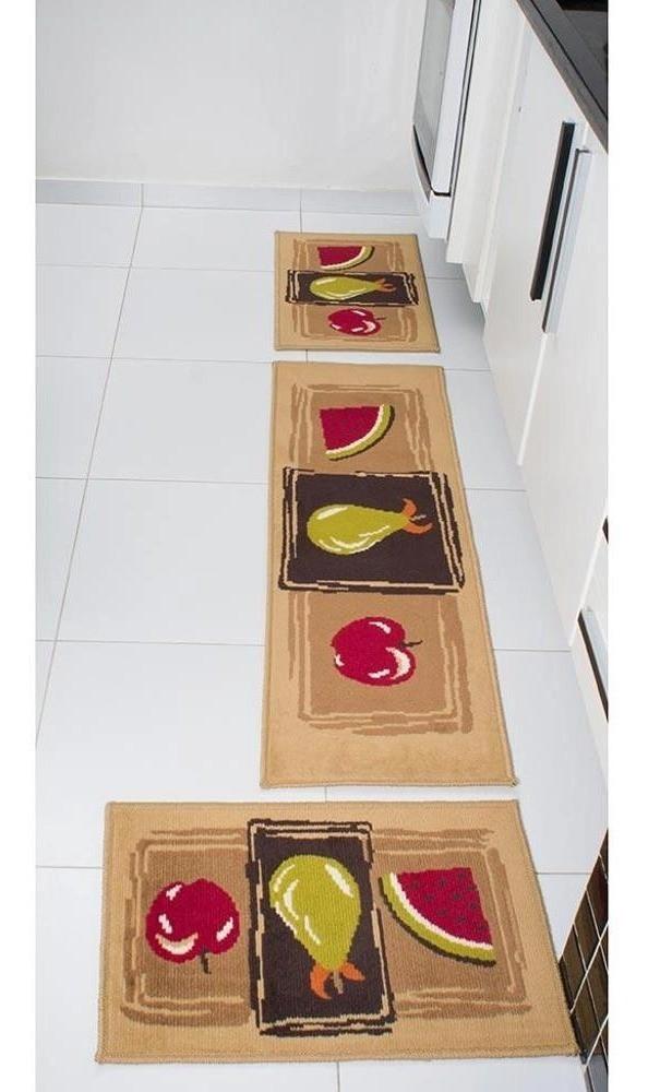 Tapete de Cozinha 3 Peças Antiderrapante Madrid Frutas