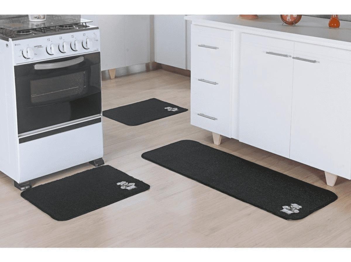 Tapete de Cozinha 3 Peças Patch Chef Preto