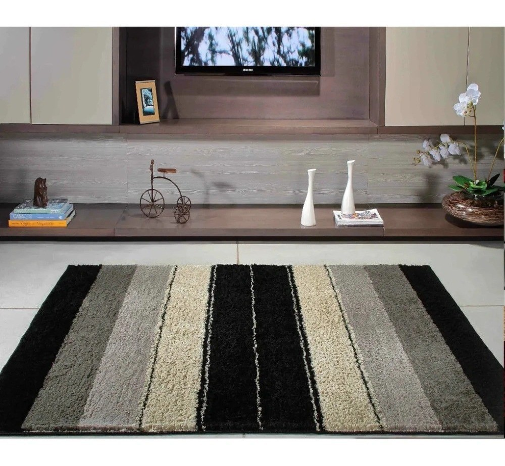 Tapete para Sala/Quarto Oasis Classic 1,50 X 2,00  Design Preto
