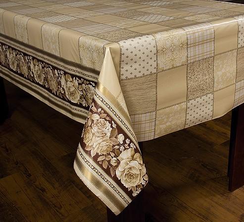 Toalha de Mesa Plastica Termica Floral/Patchwork Bege Bella Casa 140x140