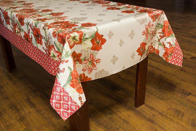Toalha de Mesa Plastica Termica Floral Vermelho Bella Casa 140x220