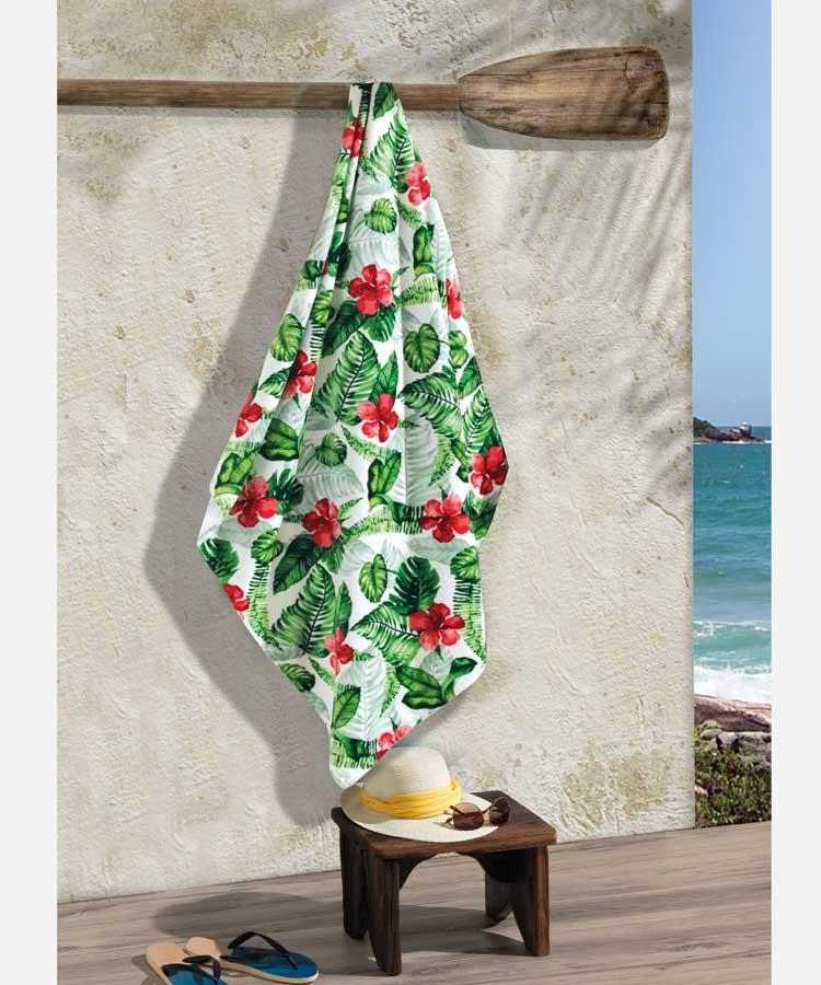 Toalha Praia Dohler Velour - Hibiscos 01 - 86x162cm