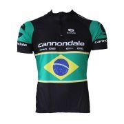 Camisa Ciclismo Cannondale Preta/bandeira Do Brasil Ziper Curto