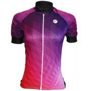 Camisa de ciclismo Feminina Barbedo Ametista Preto/Violeta
