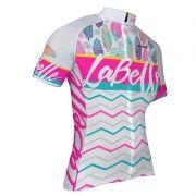 Camisa de ciclismo Feminina Oggi La Belle Branco/Rosa