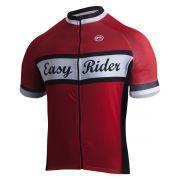 Camisa De Ciclismo Masculina Easy Ride Barbedo Vermelho/Branco/Preto