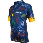 Camisa Para Ciclismo Bike Infantil Skin Azul/amarelo