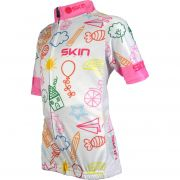 Camisa para Ciclismo Bike Infantil Skin Banco/rosa