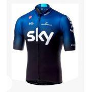 Camisa SKY Preto/Azul Escuro Degrade Ziper Curto Ciclismo