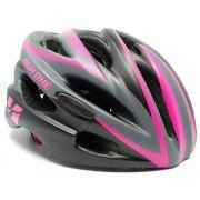 Capacete Ciclismo Feminino High One Sinalizador Led Preto/Rosa