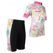Conjunto Bike Ciclismo Infantil Skin Banco/rosa