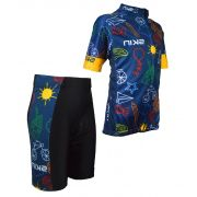 Conjunto  Ciclismo Bike Infantil Skin Azul/preto