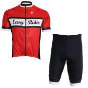 Conjunto De Ciclismo Masculino Barbedo Easy Ryde Vermelho/Preto
