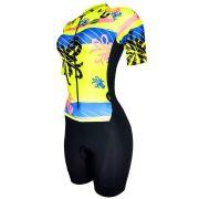 Macaquinho De Ciclismo Feminino Barbedo Amarelo Neon Spring
