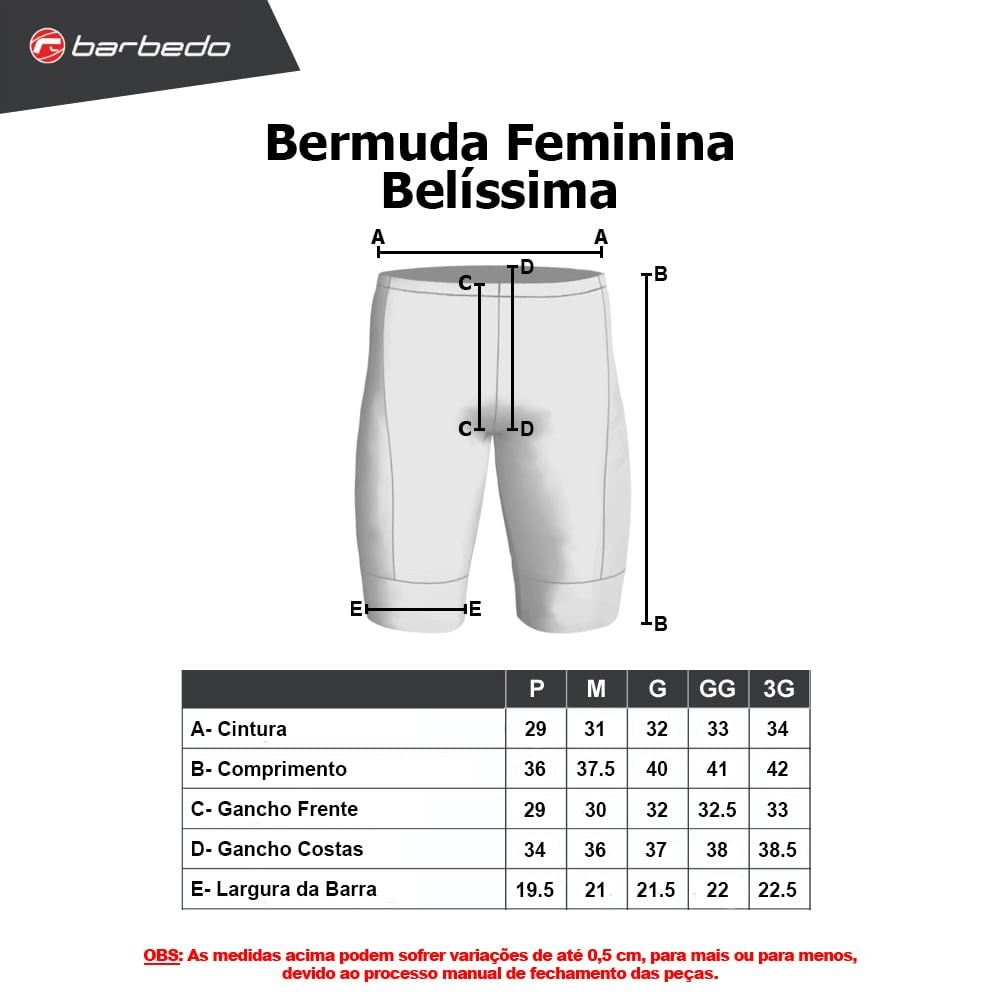 Bermuda de ciclismo Feminina Barbedo Belíssima Preto