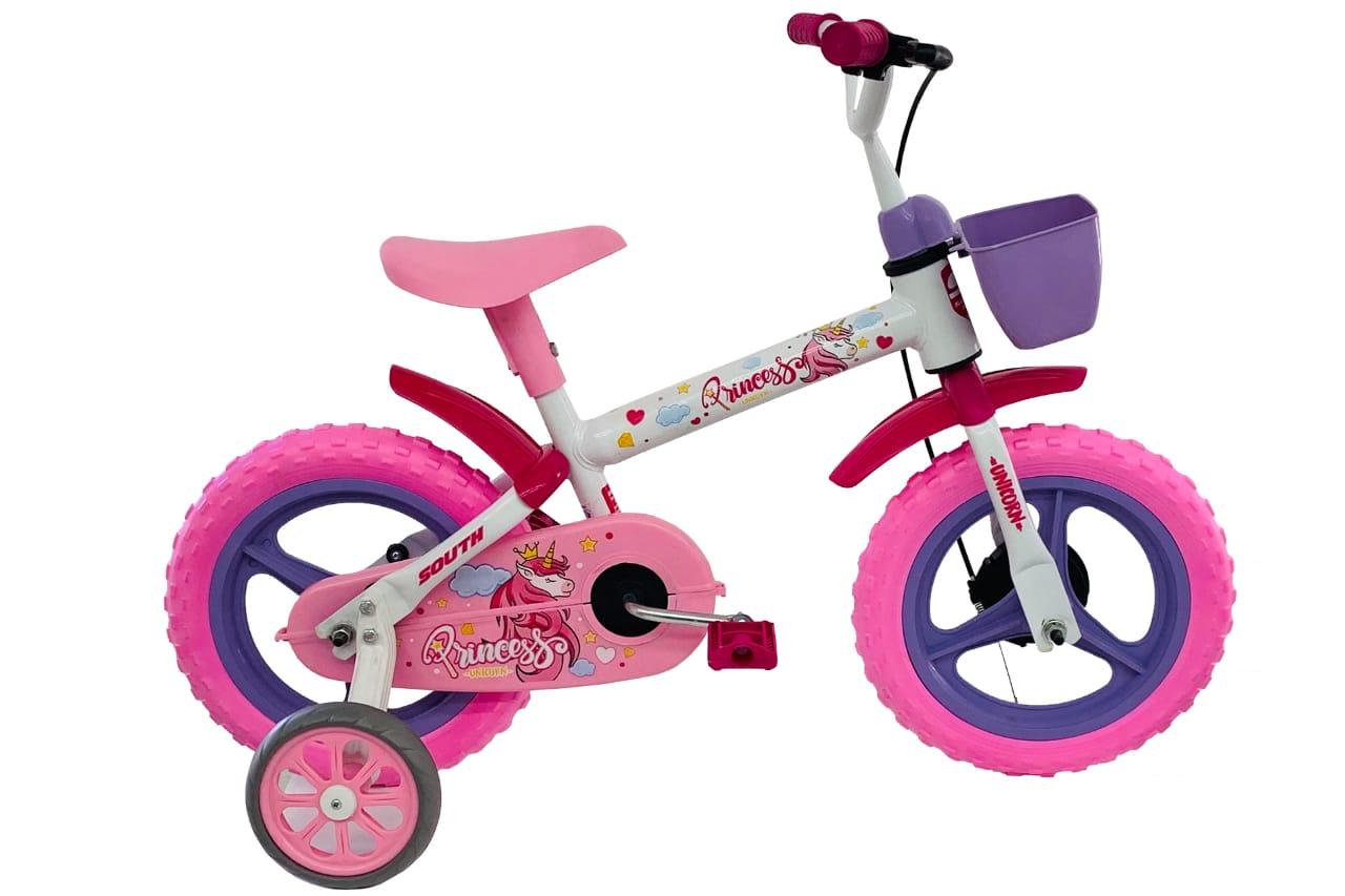Bicicleta Infantil Aro 12 Menina Princesas Branco/rosa