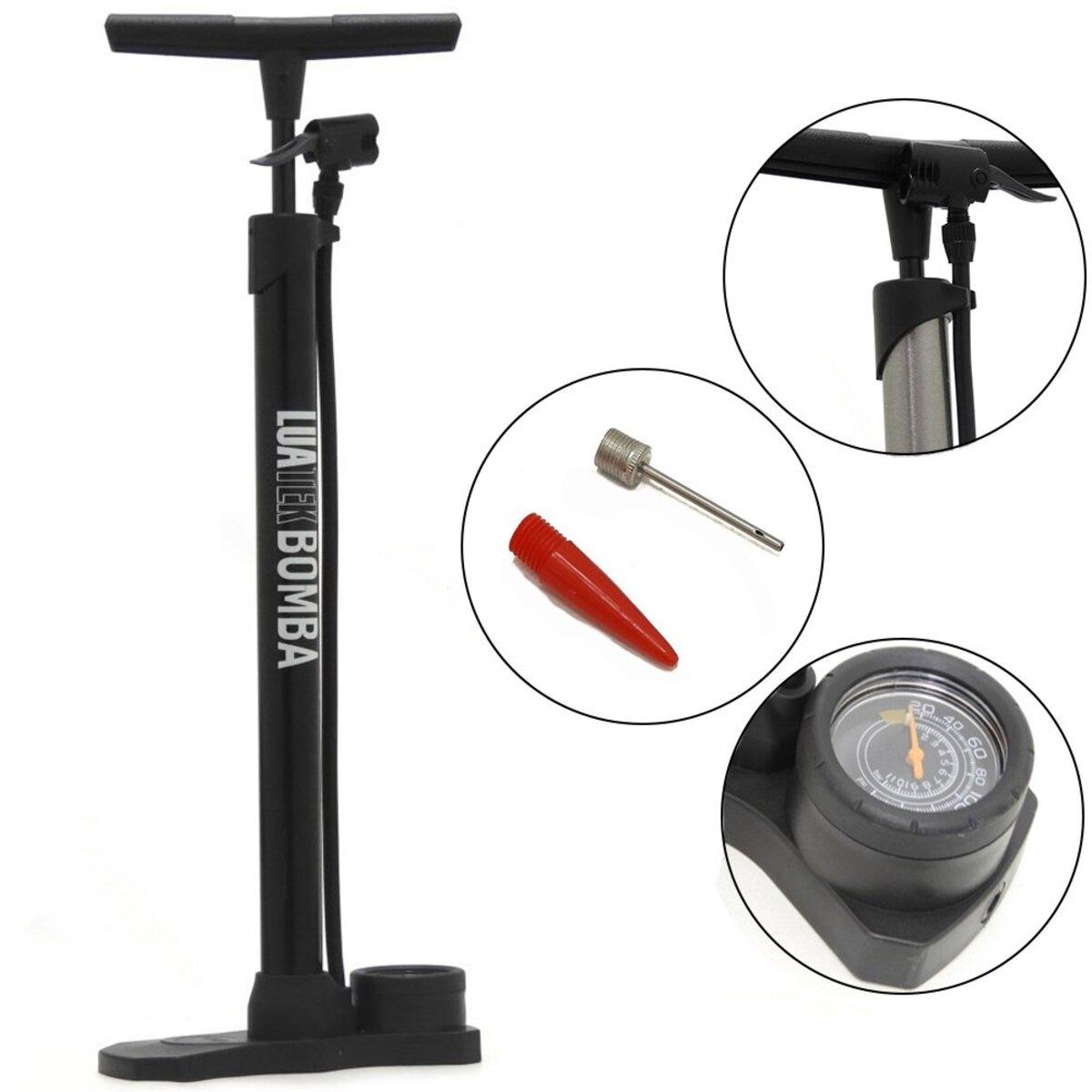 Bomba De Encher Manual Luatek Com Manômetro Bicicleta