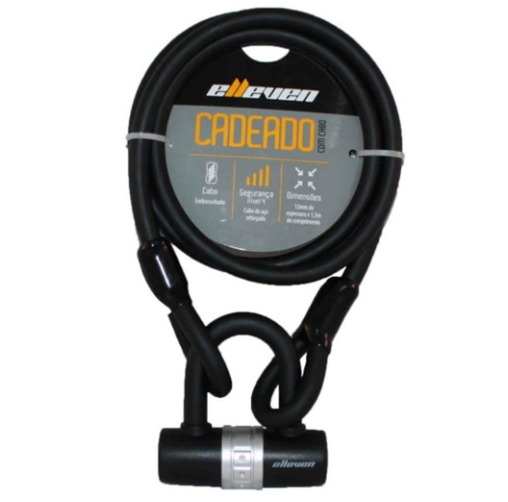 Cadeado Bike Moto Tranca U-lock Cabo Aço 1,5mx12mm Elleven