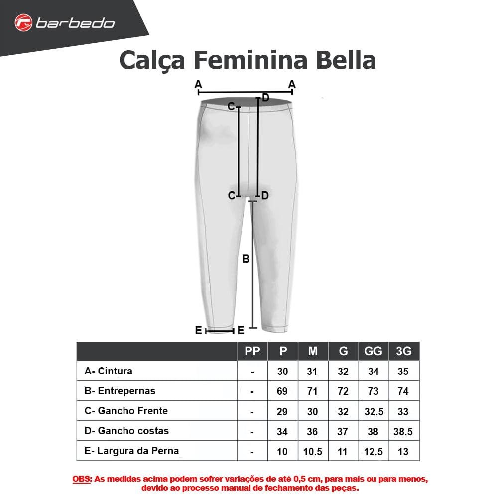 Calça Ciclismo Feminina Barbedo Bella com Forro 3D