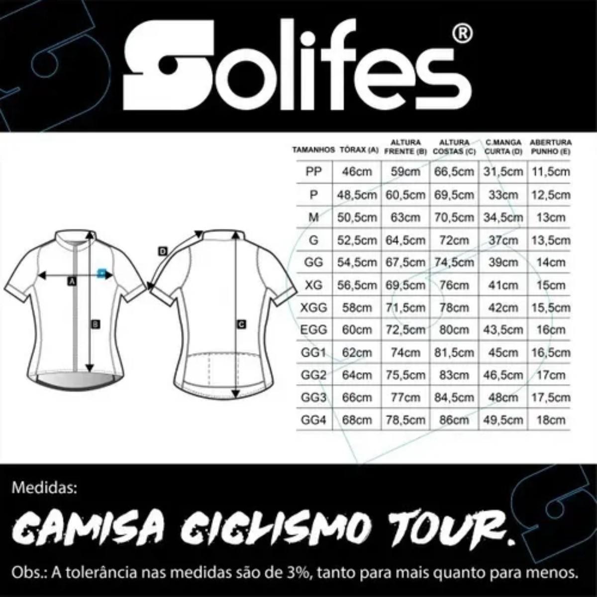 Camisa Ciclismo Solifes Unissex Tour Bike Proteção UV50