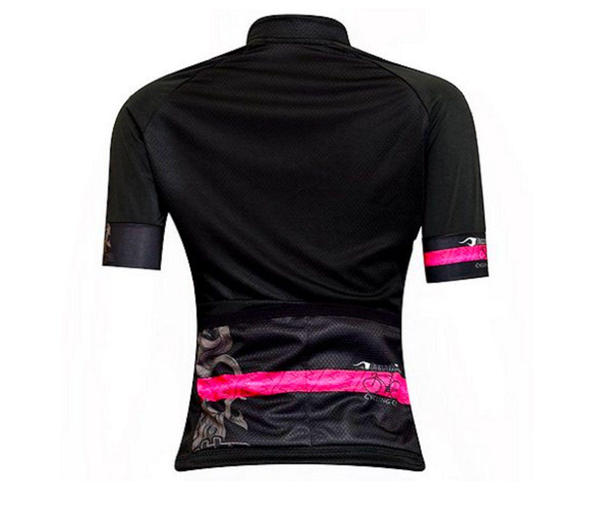 Camisa de ciclismo Feminina Damatta Brasão Preto/Rosa
