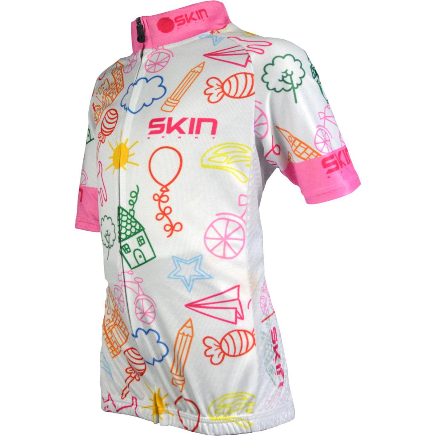 Camisa para Ciclismo Bike Infantil Skin Branco/rosa