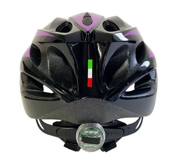 Capacete Bike Ciclismo Elleven Preto/lilás Sinalizador Led