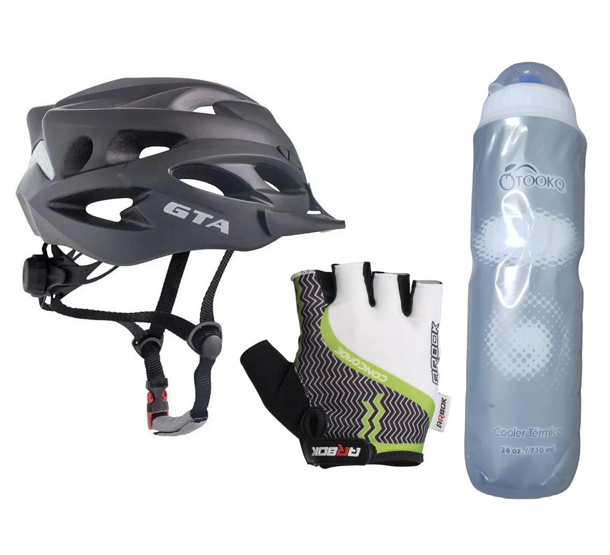 Capacete Bike Led com Luvas Ciclismo e Garrafa Caramanhola Térmica