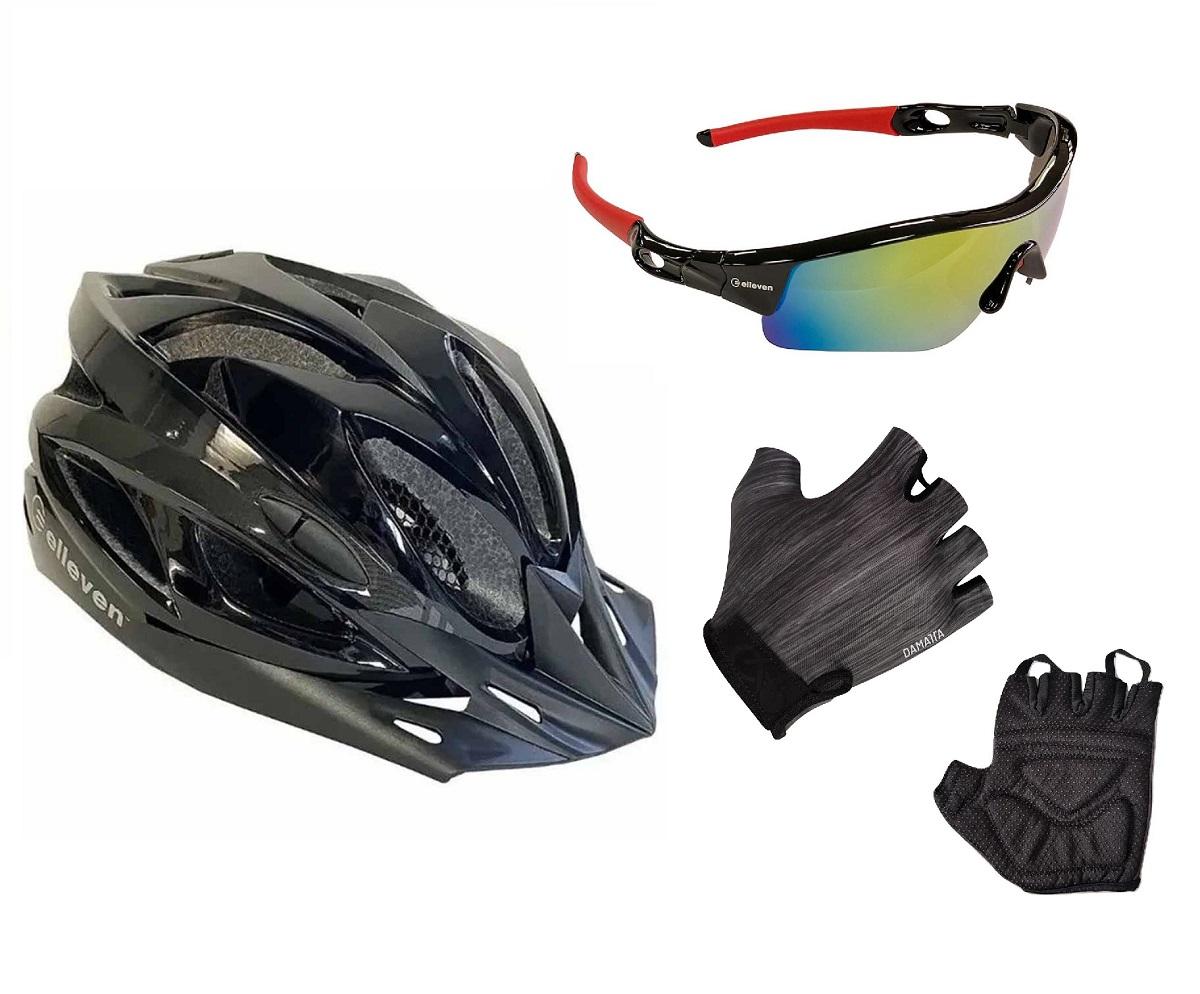Capacete Bike Led com Luvas Ciclismo e Óculos Proteção UV400