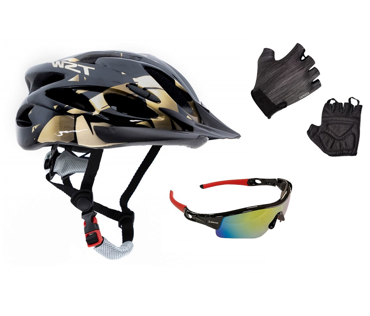 Capacete Bike Led Raptor Tsw + Luva Damatta + Óculos Ciclismo