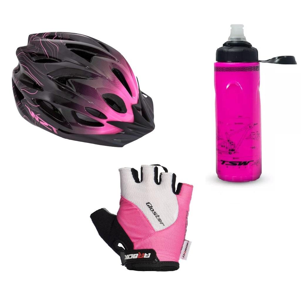 Capacete Ciclismo Feminino Tsw + Garrafa Térmica + luva Arbok