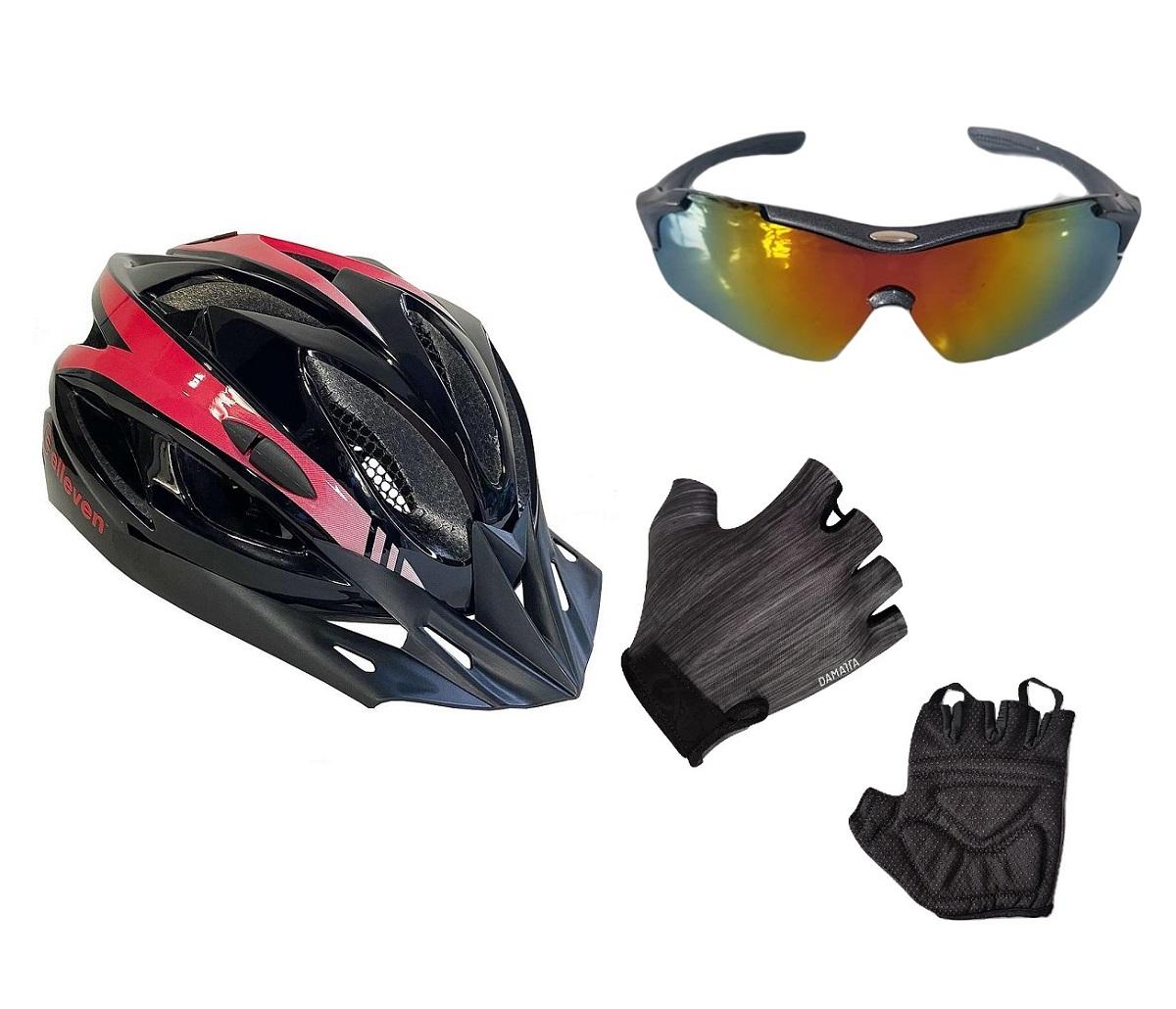Capacete Ciclismo Led com Óculos Proteção Uv e Luva Bike Cinza