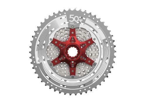 Cassete K7 Bike Sunrace 11v Mx80 11x50 Dentes Prata/vermelho