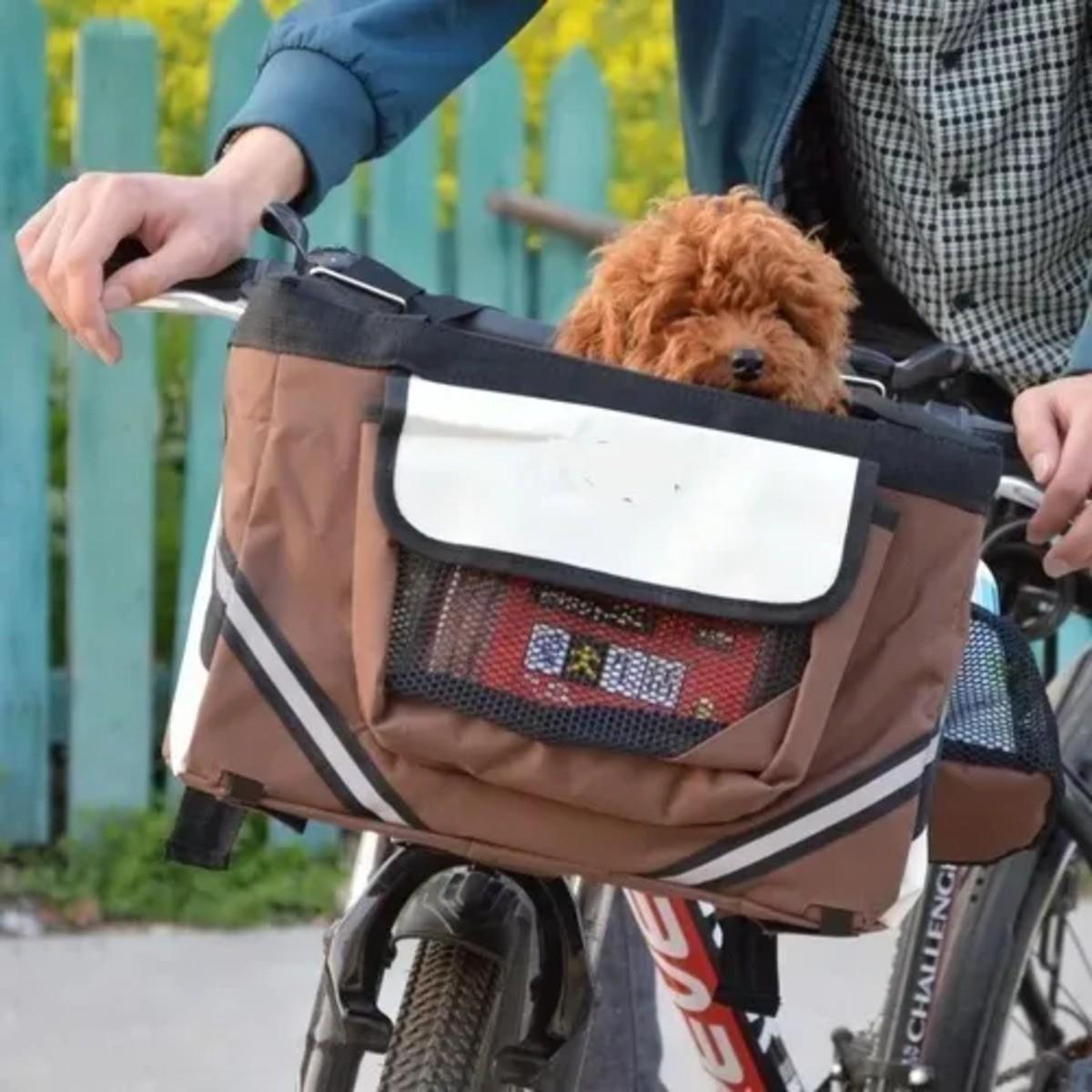 Cesta Bolsa Bike Pet Passeio Cachorro Tecido Com Bolsos Tsw