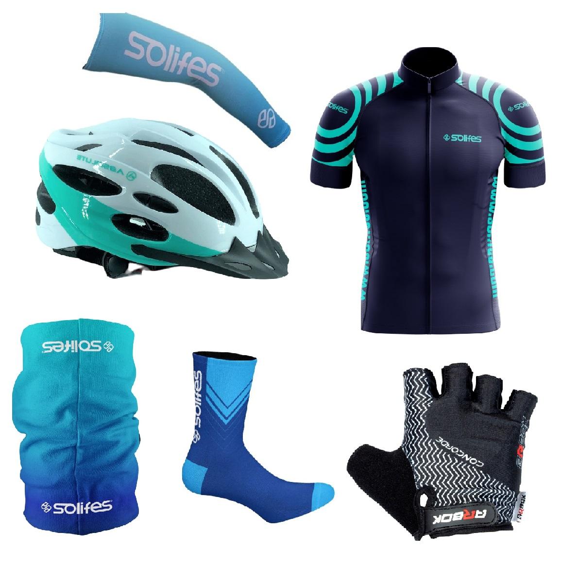 Kit Capacete Ciclismo Bike Led + Camisa + Luva + Manguito + Bandana e Meias