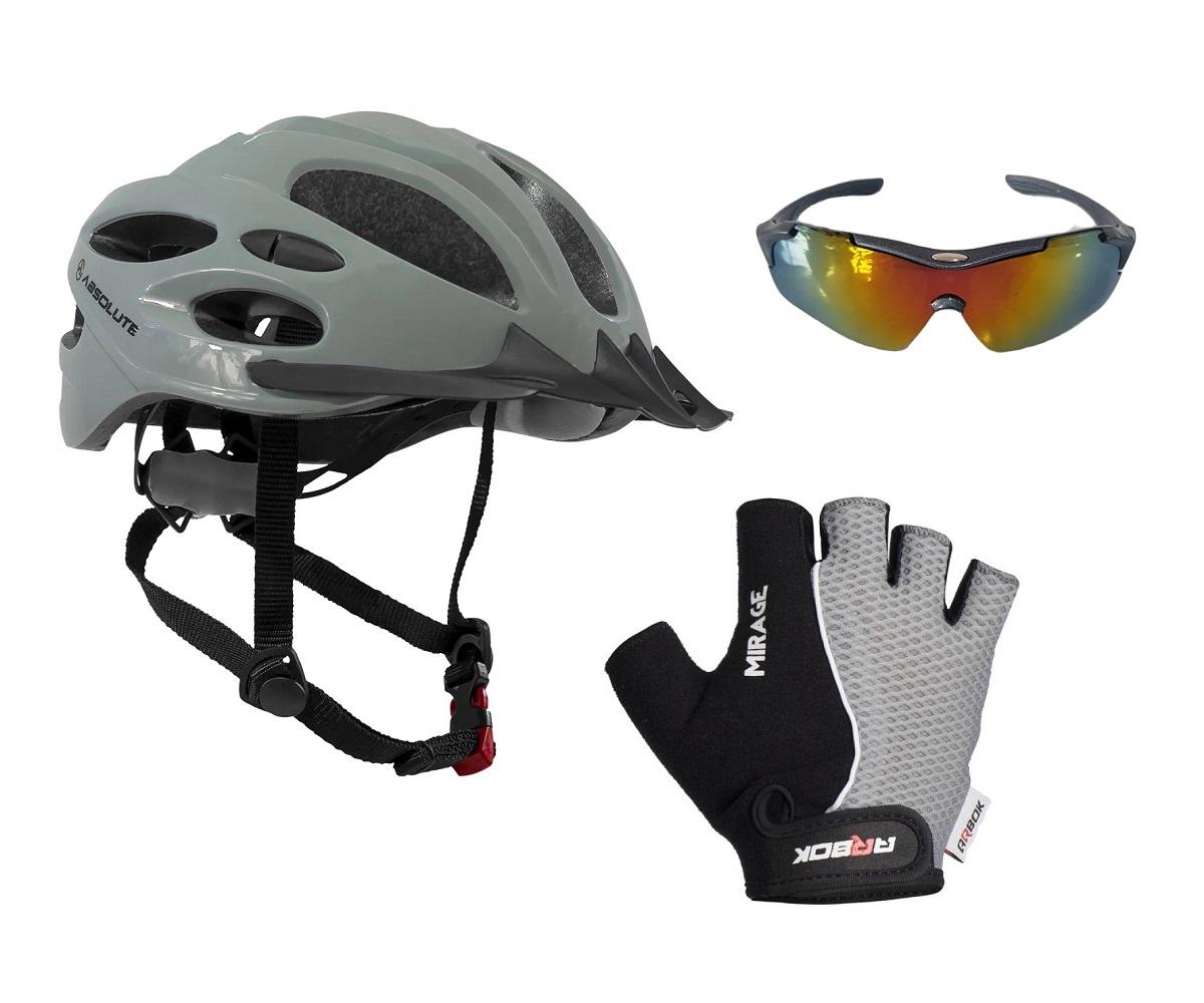Kit Capacete Ciclismo C Led + Luva Gel + Óculos Proteção Uv