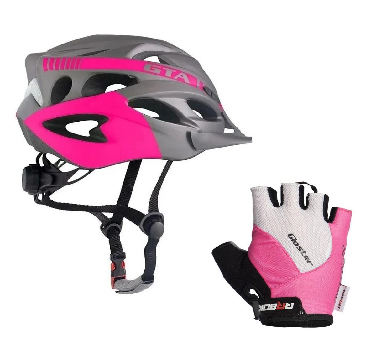 Kit Capacete Ciclismo Feminino Com Led Com Luva Arbok Rosa