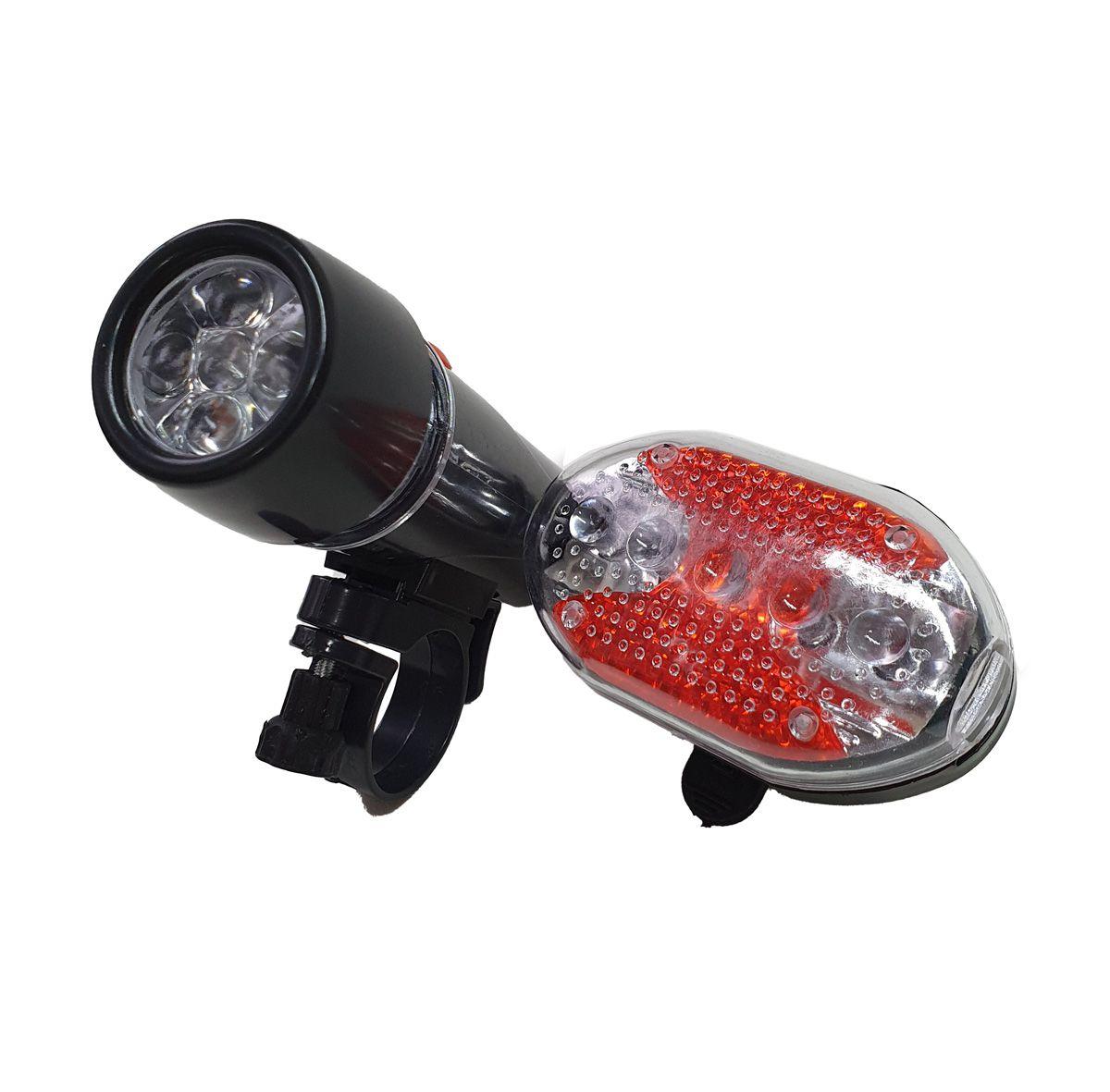 Kit Farol E Lanterna Luz Traseira Bike Luatek